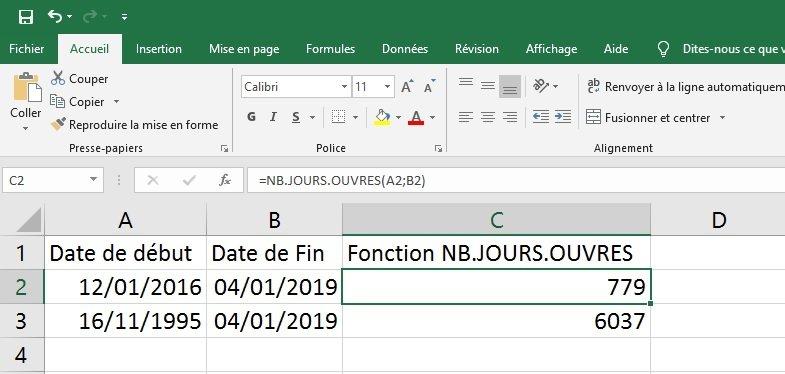 Excel : différence entre deux dates