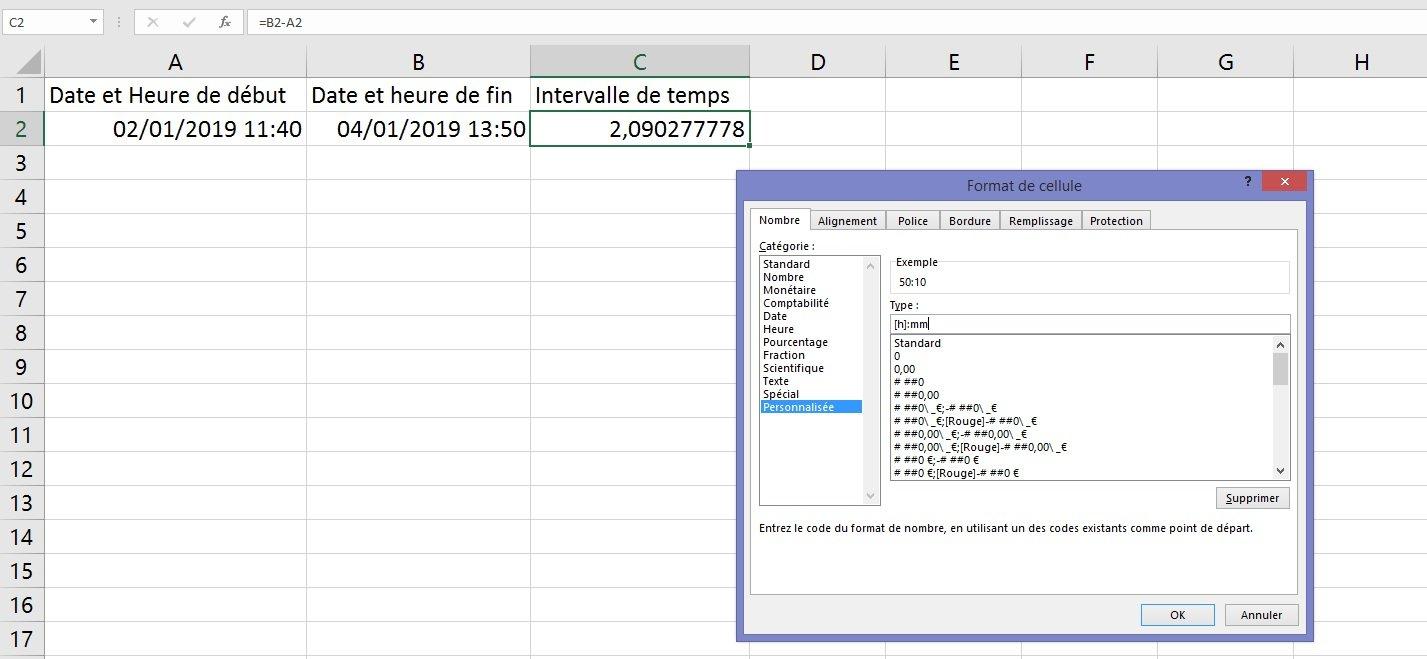 Excel : la différence entre deux heures